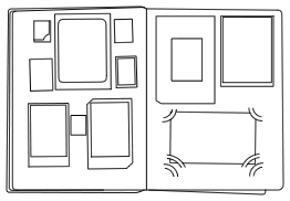 Line drawing of an open photo album