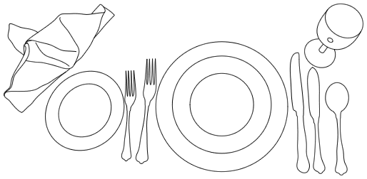 Line drawing of a formal table setting before serving